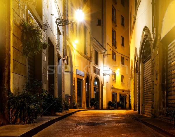 FLORENCE nuit faible belle rue fenêtre Photo stock © Givaga