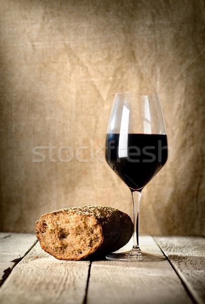 Wine glass and bread Stock photo © Givaga
