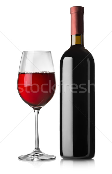 Glass and black bottle of red wine Stock photo © Givaga