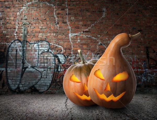 Pumpkins and graffiti Stock photo © Givaga
