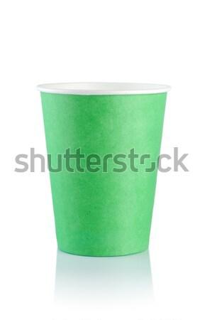 Vert jetable tasse isolé blanche Photo stock © Givaga
