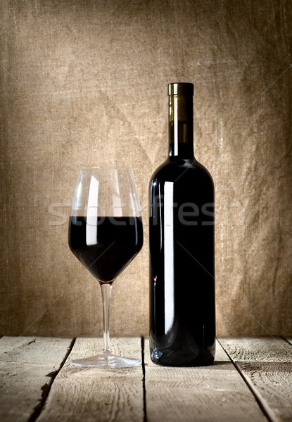 Black bottle and glass Stock photo © Givaga