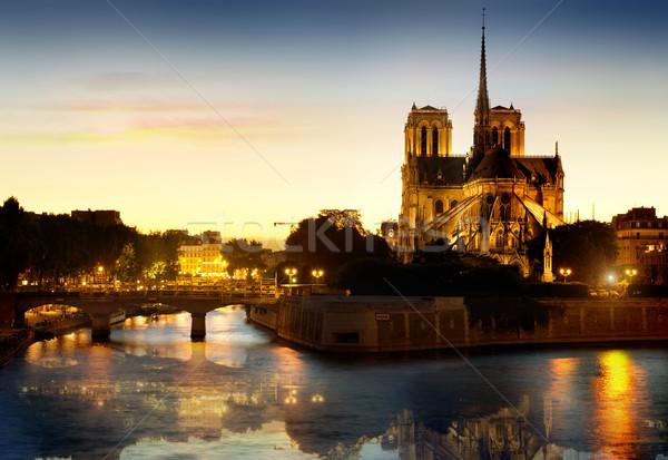 Сток-фото: Париж · собора · ночь · воды · здании