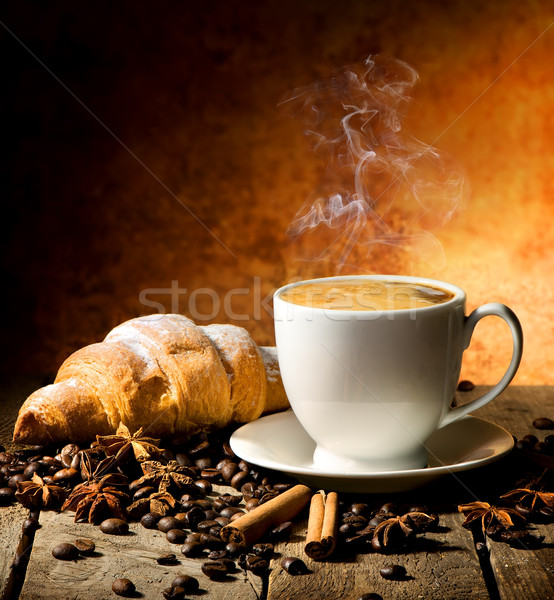 Fresh croissant and coffee Stock photo © Givaga