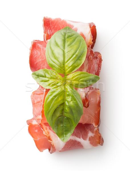 Apetitoso bacon ervas isolado branco comer Foto stock © Givaga