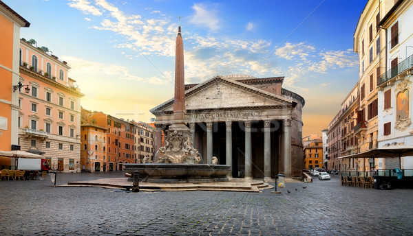 Stock photo: Pantheon and fountain