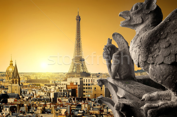 Chimeras and Eiffel Tower Stock photo © Givaga