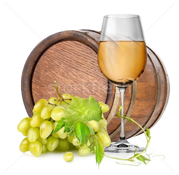Brun bois baril isolé blanche vin Photo stock © Givaga