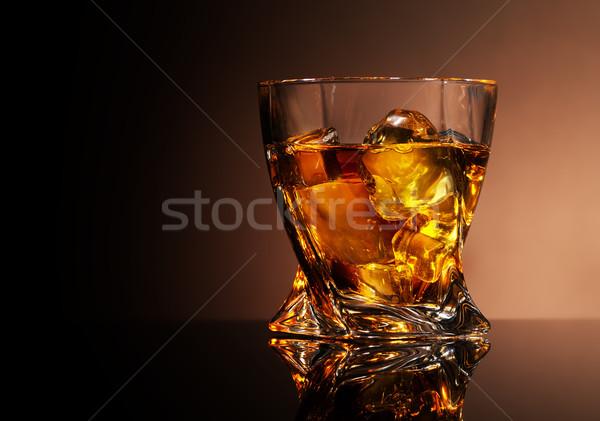стекла бренди коричневый бизнеса льда Сток-фото © Givaga