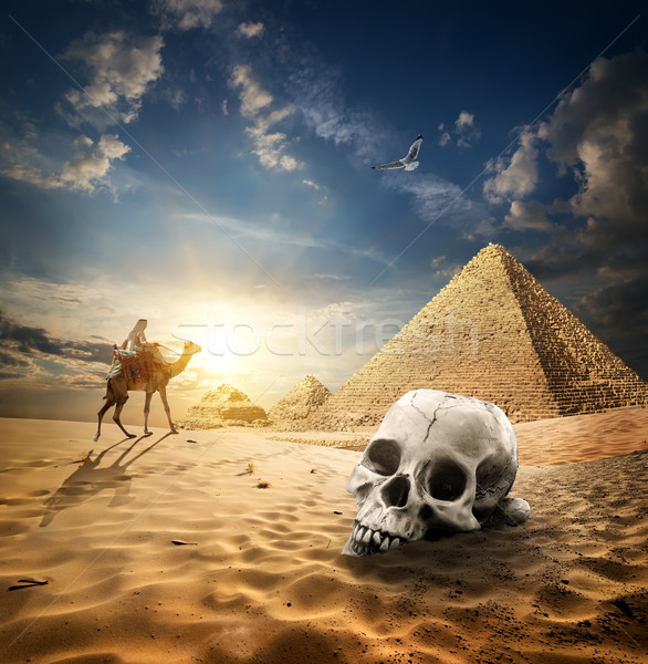 Pyramids and skull Stock photo © Givaga