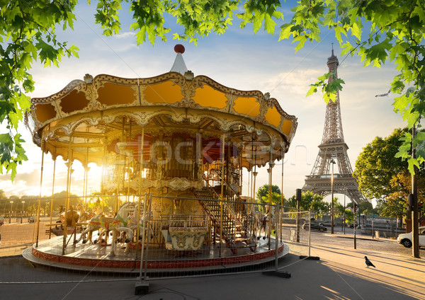 Carrousel Tour Eiffel parc Paris ville soleil Photo stock © Givaga