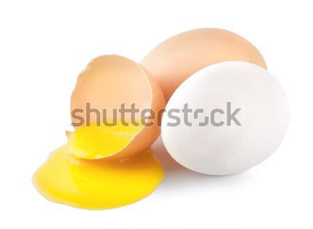 сломанной яйца желтый желток изолированный белый Сток-фото © Givaga