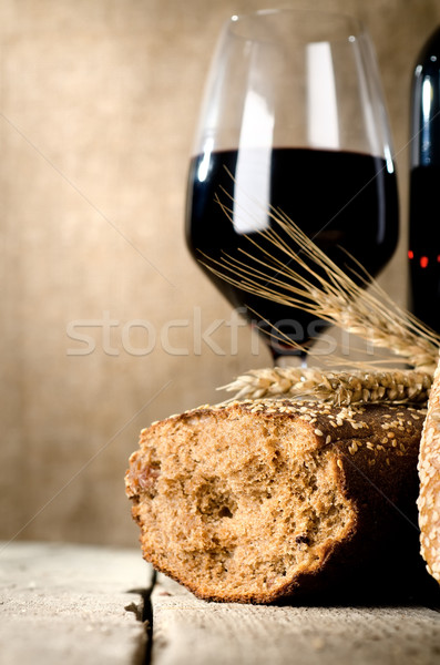 Wine, bread and wheat Stock photo © Givaga