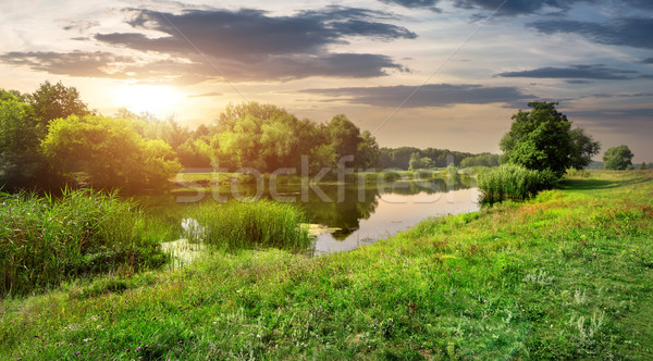 Evening over river Stock photo © Givaga