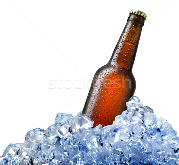Foto stock: Garrafa · cerveja · gelo · isolado · branco · bar