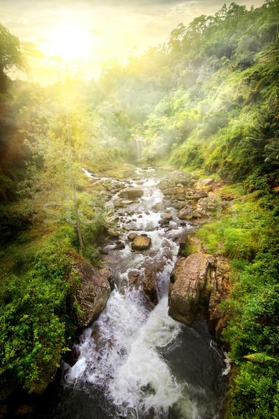 Stockfoto: Tropische · rivier · zonsopgang · snel · zonnige · Sri · Lanka