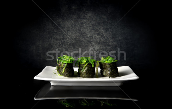 Gekruid sushi zeewier witte plaat achtergrond Stockfoto © Givaga