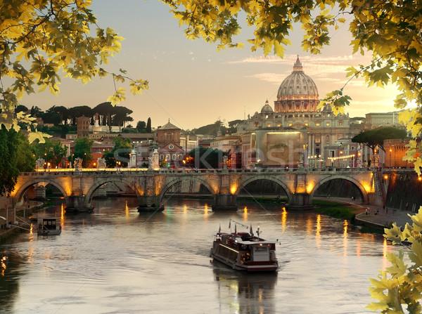 Ponte santo Roma vaticano autunno tramonto Foto d'archivio © Givaga