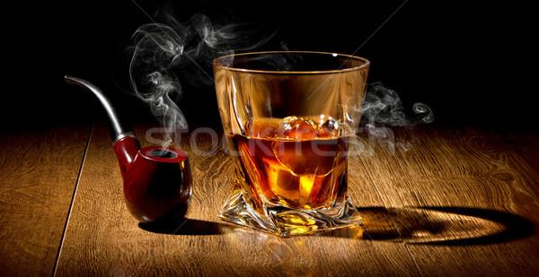 Cső whiskey dohány fa asztal háttér füst Stock fotó © Givaga