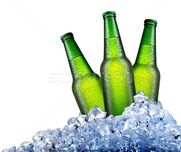 Stock fotó: Zöld · üvegek · jég · sör · izolált · fehér