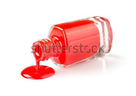 Unha polonês vermelho isolado branco Foto stock © Givaga