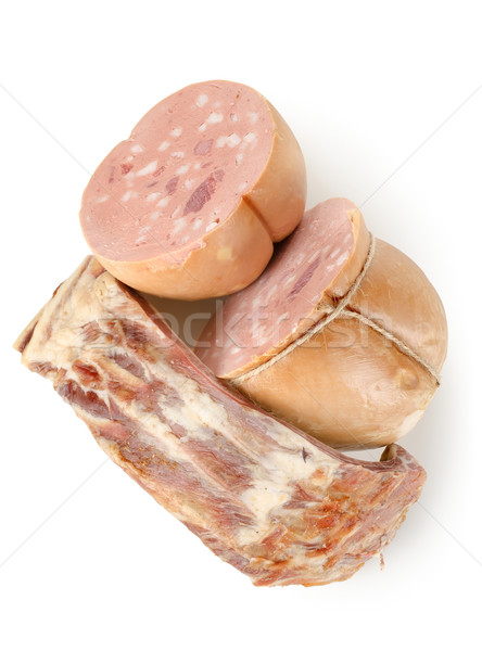 Cocido salchichas grasa aislado blanco fondo Foto stock © Givaga