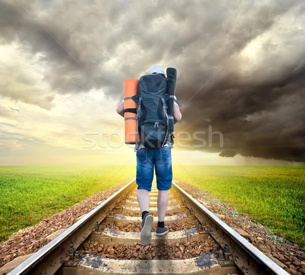 Turista ferrovia nublado céu estrada homem Foto stock © Givaga