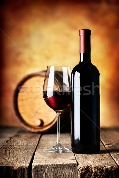 Stock photo: Wine on wooden table