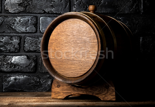 Stock photo: Cask and bricks