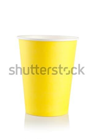 Jaune jetable tasse isolé blanche Photo stock © Givaga