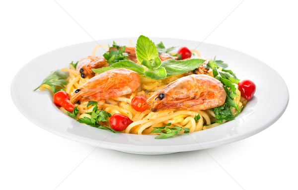 Spaghetti with prawns isolated on white Stock photo © Givaga