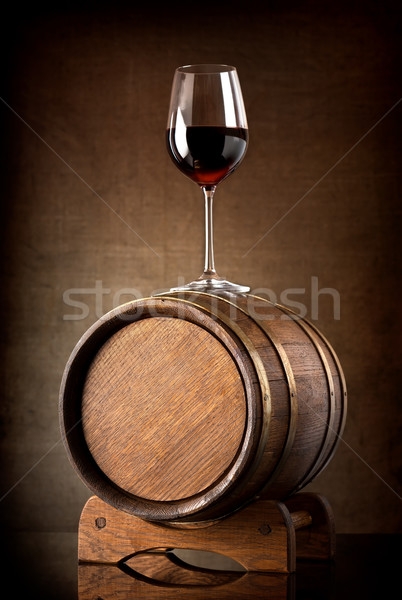 Wineglass  and barrel Stock photo © Givaga