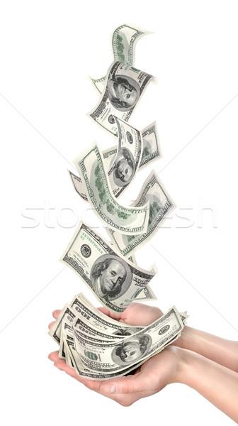 下がり ドル 孤立した 白 手のひら 飛行 ストックフォト © Givaga