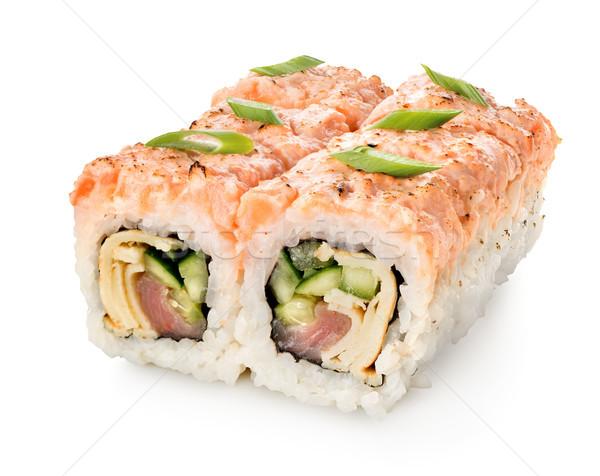 Csoport tekercsek szusi izolált fehér étel Stock fotó © Givaga