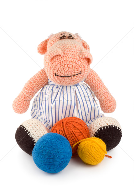 Soft toy hippopotamus and balls of thread Stock photo © Givaga