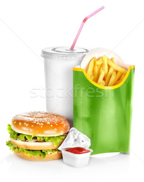 Sandwich with french fries isolated Stock photo © Givaga
