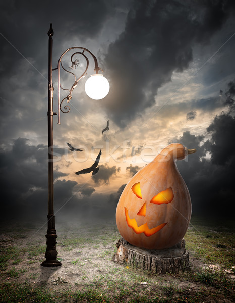 Halloween pumpkin and streetlamp Stock photo © Givaga