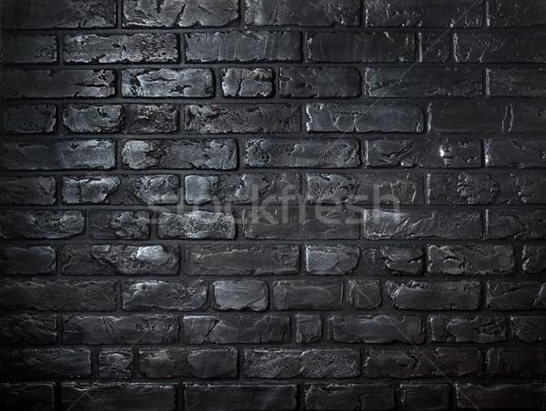 Téglák gyönyörű öreg fekete épület fal Stock fotó © Givaga
