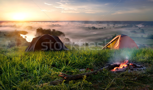 Camping in steppe Stock photo © Givaga