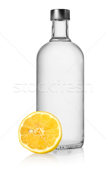 Vodka citron isolé bouteille blanche vide Photo stock © Givaga
