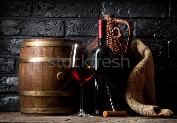 винный погреб деревянный стол погреб вечеринка вино Сток-фото © Givaga