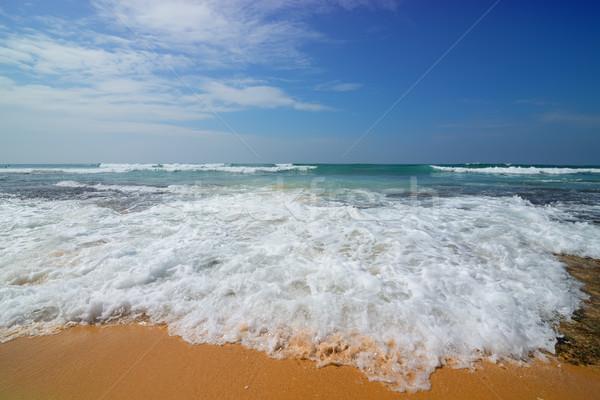 Köpüklü dalga deniz gökyüzü yaz Stok fotoğraf © Givaga