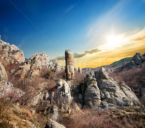 ストックフォト: 岩 · 谷 · 幽霊 · 秋 · 日没 · 草