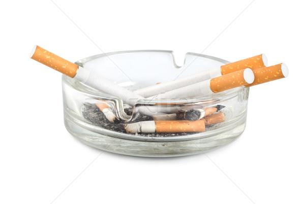 Posacenere isolato sigarette bianco Foto d'archivio © Givaga