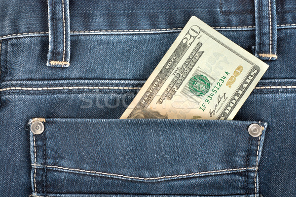 двадцать доллара кармана сведению назад джинсовой Сток-фото © Givaga