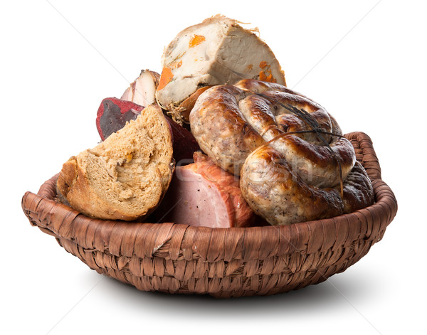 Meat products in plate Stock photo © Givaga