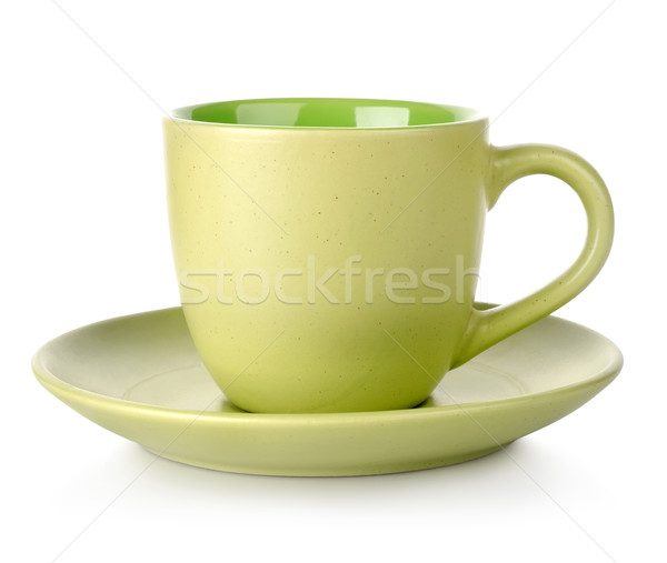 Vert tasse soucoupe isolé blanche thé Photo stock © Givaga