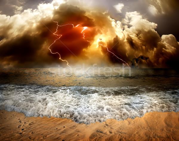 Pioruna morza burzowe chmury niebo tle piękna Zdjęcia stock © Givaga