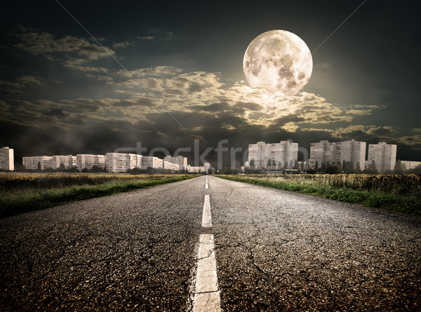 Highway to district under the moon Stock photo © Givaga