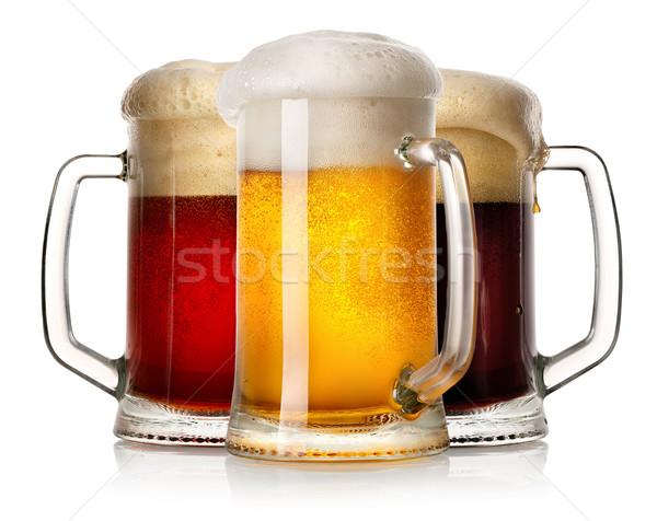 Glass mugs of beer Stock photo © Givaga